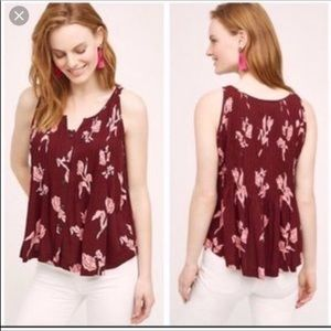 Maeve Burgundy Floral Pleated Tank Womens 10